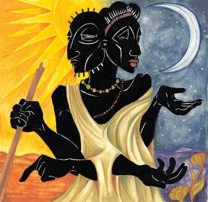 Mawu et Lisa, les jumeaux divins, symboles du Soleil et de la Lune