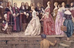 Arrivée des filles du Roy à Québec, reçues par Jean Talon et Mgr Laval. Tableau d'Eleanor Fortescue-Brickdale.