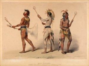 Amérindiens peints par George Catlin, illustrant la pratique de la crosse.