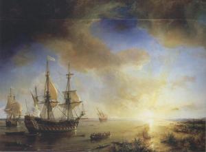 Expédition de Robert Cavelier de La Salle à la Louisiane en 1684, peint en 1844 par Théodore Gudin. La Belle est sur la gauche, Le Joly au centre et L'Aimable est échoué à droite.