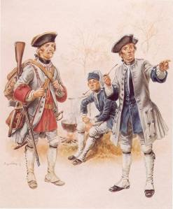 Grenadier of the French Guyenne régiment and a corporal from the Béarn régiment, circa 1756