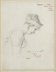 Le portrait de l'impératrice ; Profil de l'Impératrice Joséphine le Jour de son couronnement à Notre Dame de Paris le 2 décembre 1804 - Etude préparatoire