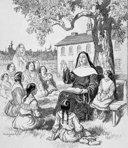 Une religieuse enseigne à des enfants autochtones en Nouvelle-France