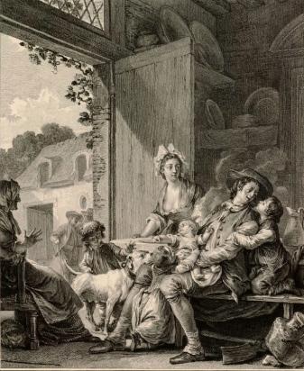 Jean Michel Moreau, le jeune. Engraver (Le Vrai bonheur 1782