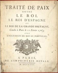 le traité de Paris de 1763