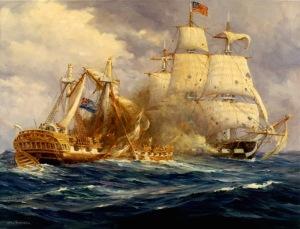 Anton Otto Fischer (1882-1962) USS Constitution contre HMS Guerrière