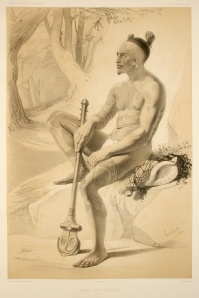 Louis Le Breton: Dessin d'un homme tatoué des îles Marquises , 1846.