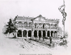 Old Cabildo as built by Almonaster, 1794, and corner of the jackson square