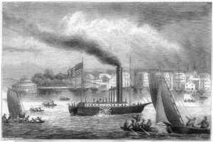Robert Fulton  ( le navire à vapeur le Clermont, illustration Project Gutenberg