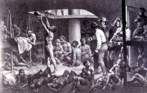 Enslaved Africans in Hold of Slave Ship, 1827