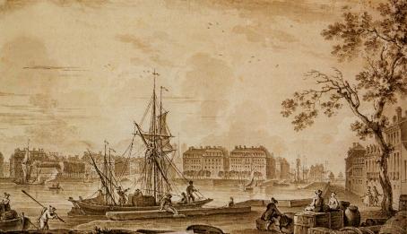 Vue du port de Nantes prise de l'île Gloriette
