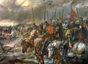 Matin de la bataille d'Azincourt, le 25 Octobre 1415«, peint par Sir John Gilbert .