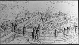 Bordeaux - 2ème enceinte XIIIème siècle, de la Porte des Ayres à la Porte de la Cadène - Dessin de Léo Drouyn