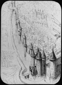 Bordeaux - 2ème enceinte XIIIème siècle de la porte Rousselle à la porte Bouqueyre - Dessin de Léo Lrouyn ; Bordeaux Fossés des Salinières.
