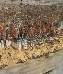 Bordeaux au moyen-âge :  1 = Le port de la Lune  2 = Cathédrale St André  3 = Eglise St¨Pierre  4 = Palais de l'Ombrière (aujourd'hui détruit)  5 = Le marché  6 = La Porte Cailhau construite en 1495  7 = L'entrée Royale symbolisant la soumission de la ville.