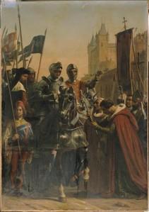 Entrée des Français à Bordeaux, 23 juin 1451, gravure sur acier de Thibault d'après Auguste Vinchon, milieu du XIXe siècle