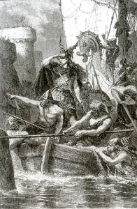 Représentation d'une barque viking (gravure d'Alphonse de Neuville 1879)