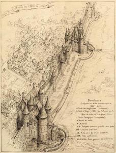 Les fortifications de Bordeaux au 13e siècle. Dessin à la plume de Léo Drouyn