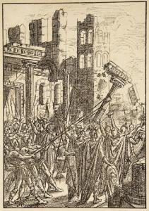 Les Wisigoths démolissent la cathédrale Saint-André. Gravure extraite de La Vie de Saint Delphin par le Père de Moniquet, 1893.