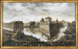 Reconstitution du château Trompette, A. Haon, aquarelle et rehauts de gouache