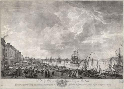 Vue de la ville et du port de Bordeaux prise du coté des salinières, gravure à l'eau forte, d'après Vernet, 54 x 73 cm, 1764