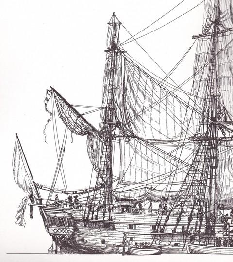 arrière de l'aurore navire négrier un peu plus grand que l'assemblée nationale dessin jean bellis