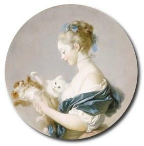 Jean-Honoré Fragonard - Fille jouant avec un chien