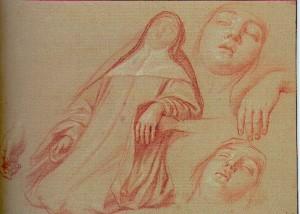 La mort de saint Scholastique, études de têtes et de mains – Nicolas de Plattemontagne -(1631-1706)