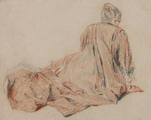 J.A. Watteau, Femme en robe rayée, sanguine, vers 1716-18