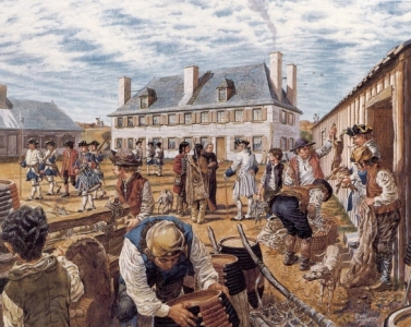 Scène de la vie quotidienne au fort Beauséjour, vers 1753
