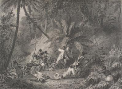 La bataille de Ravine-à-Couleuvres par Karl Girardet et Jean Jacques Outhwaite.