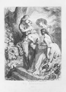 Tony Johannot, vignette « du verre d'eau », pour « Werther », Hetzel, 1844, gravure sur chine appliquée, avant la lettre.