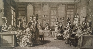 """Marchande de Modes"" engraving from Robert Bénard's Encyclopédie, 1777."