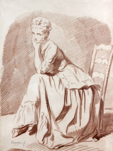 Louis Roland TRINQUESSE (Paris 1746-vers 1800) Jeune femme assise Sanguine ...