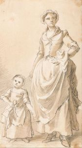 Paul Sandby, 1731-1809, British, Woman and Child Holding a Doll