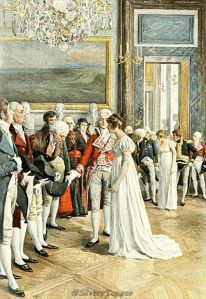 France's Empress Josephine,one of the great glove wearers of the Napoleonic Regency era, wearing opera gloves at a diplomatic reception.