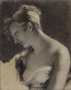 Head of a Woman- Study for %22The Happy Mother%22 (L'Heureuse mère); Pierre-Paul Prud'hon (French, 1758 - 1823)
