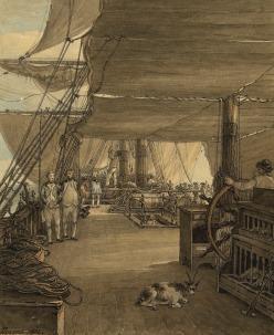 Scene de pont montrant poulailler barreur et capitaine vers 1775