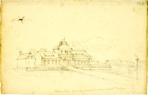 Débarcadère sur le lac Pontchartrain à la Nouvelle-Orléans (Lousiane), C.-A. Lesueur, entre 1816 et 1840