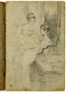 Constable John (Deux femmes assises dans un intérieur, l'une fait des travaux d'aiguille