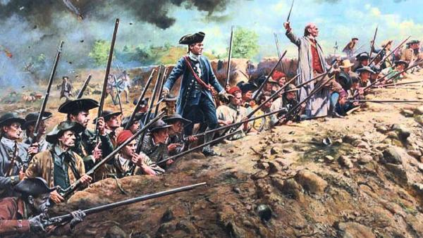 The Patriot Militia prepare to fire at the oncoming British host during the Battle of Bunker:Breed's Hill , June 17, 1775, Don Troiani.jpg