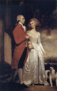 1786 Sir Christopher and Lady Sykes strolling in the garden at Sledmere by George Romney.jpg