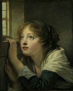 """A young girl at a window"" By Jean-Baptiste Greuze, French, 1725 - 1805 .jpg"
