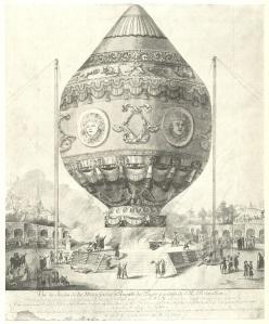 Ascension de la montgolfière dans le parc de la Folie Titon, 18 septembre 1783. Aquarelle originale, coll. Paul Tissandier..jpg