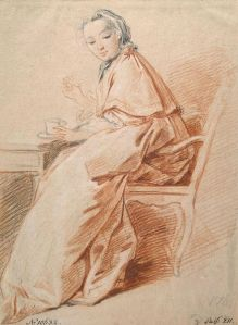 "Boucher, Woman in an Armchair (Study for ""Breakfast""), Circa 1739 (Hermitage).jpg"