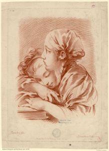 Deux jeunes fille, l'une, à droite, en buste, de profil à gauche, la main gauche sur un livre, l'autre au fond à gauche, la tête appuyée sur le bras | Demarteau, Gilles, 1729-1776 (graveur) ; Boucher, François, 1703-1770 (d'après).jpeg