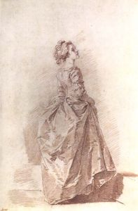 Drawing of a Young Woman, by Fragonard, c 1770s-80s