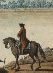 Ecole italienne du XVIIIème siècle, d'après Pietro FABRIS. Cavalier et son chien..jpg