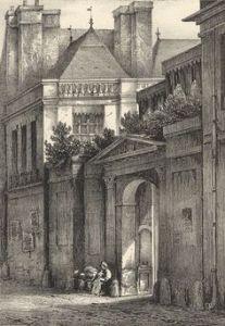 Lithographie Champin. Hôtel de Mesme. Rue St Avoye n° Série « Rues et monuments de Paris au XIXe siècle .jpg