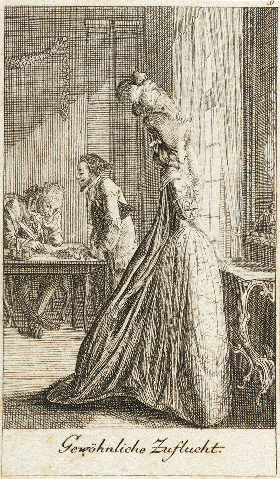 """""""Gewoehnliche Zuflucht,"""" print from dem Leben eines schlecht erzogenen Frauenzimmers, Daniel Nikolaus Chodowiecki, etching, 1779, German..jpg"""